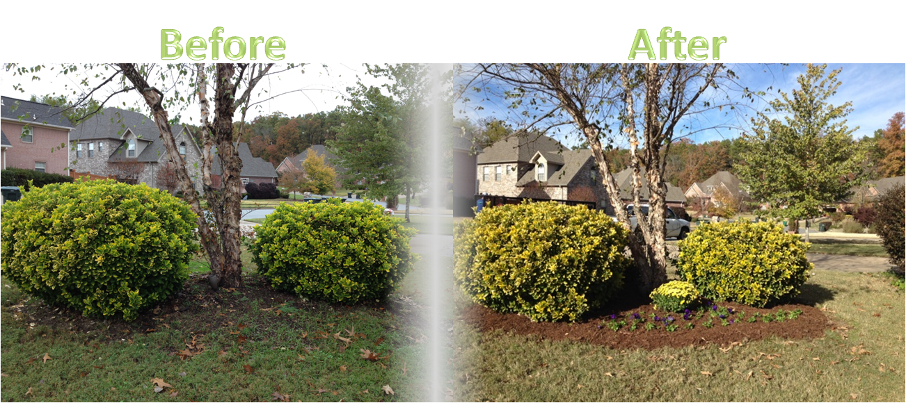 Lawnserve of AR Flowers and Mulch Before and After