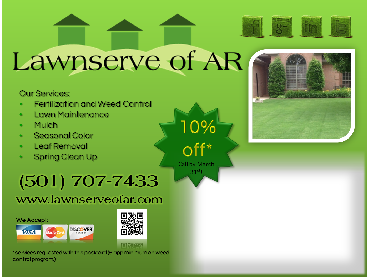 Lawnserve of AR-Fertilization and Weed Control, Lawn and Landscape Services- Mow, Edge, Blow, Mulch, Shrub Trimming, Seasonal Flowers, Spring Clean Up